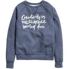 Printed sweatshirt ($19) ❤ liked on Polyvore featuring tops, hoodies, sweatshirts, blue sweatshirt, blue print top, ribbed top, patterned sweatshirt and long sweatshirt