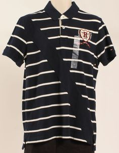 TOMMY HILFIGER OUTLET PRICE MENS POLO SHIRT NEWBURY SLIM FIT STRIPE NAVY SZ L #TOMMYHILFIGER #PoloRugby