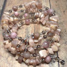 Pink Moonstone and Rhodonite Quartz Multi Wrapped Gemstone Bracelet | KatsAllThat - Jewelry on ArtFire