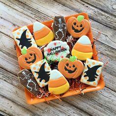 Several assorted platters of Halloween cookies!