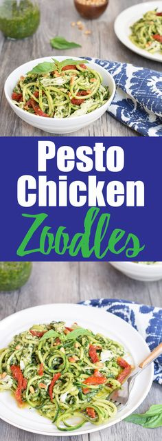 Paleo Recipes Pesto Chicken Zoodles from Living Loving Paleo! Paleo Recipes, Real Food Recipes, Chicken Recipes, Dairy Free Zoodle Recipes, Free Recipes, Paleo Meals, Chicken Meals, Quick Recipes, Spiralizer Recipes