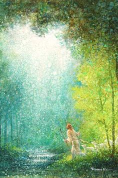 painting of jesus christ walking with staff trees river white sheep white robe green leaves waterfall looking up toward light Paintings Of Christ, Jesus Painting, Art Paintings, Temple Pictures, Jesus Pictures, Pictures Of Christ Lds, Arte Lds, Christian Artwork, Christian Artist
