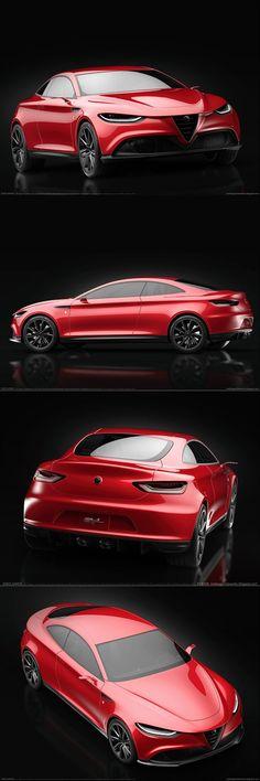 2016 Alfa Romeo GTL / concept render / Italy / red / Gran Turismo Leggero / Matteo Gentile