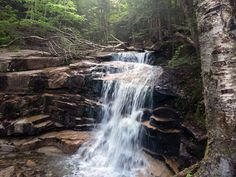 Waterfall on the Falling Waters Trail, Franconia Ridge Loop, New Hampshire.