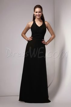 Dresswe.com SUPPLIES Elegant Sheath/Column Halter Floor-Length Sandra's Bridesmaids Dress Bridesmaid Dresses 2014
