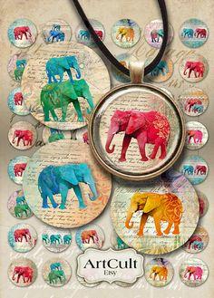 1 pulgada 25mm círculos elefantes Digital Collage hoja por ArtCult