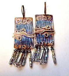 """Pure Copper Dangle Earrings for Women 2 5/8"""" Drop by MereTrinkets, $18.00"""