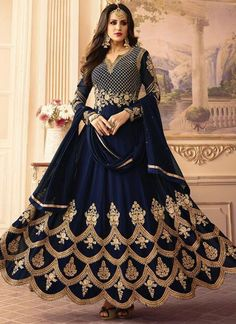 Buy Navy Blue Georgette Abaya Style Anarkali Suit online, SKU Code: SLSCCS103. This Blue color Party anarkali suit for Women comes with Zari  Faux Georgette. Shop Now!