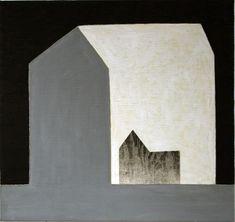 Huset og katten, 2007, 52x55cm, akryl,olje og tresnitt