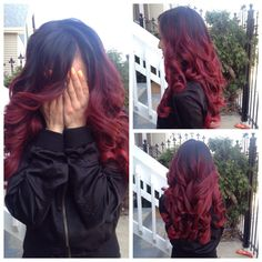 Red and black ombre hair (with extensions) <3 LOVE!
