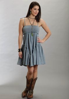 Stetson® Blue Chambray Shirred Spaghetti Strap Ruffled Hem Western Sun Dress