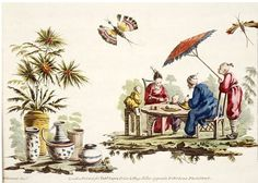 Jean Baptiste Pillement chinoiserie painting of a family dining - parasol
