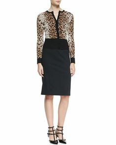 Long-Sleeve Heart Leopard-Patterned Cardigan & Cady Tech Pencil Skirt by RED Valentino at Bergdorf Goodman.