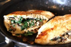 Healthy and delicious - Mushroom & Spinach Stuffed Chicken Breasts - yum!