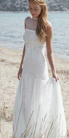 christos costarellos bridal spring 2016 sleeveless bohemian lace wedding dress illusion neckline destination