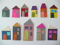 Houses of paper school - display crafts for kids, paper houses. Kids Crafts, Projects For Kids, Diy For Kids, Art Projects, Arts And Crafts, Cardboard Crafts, Paper Crafts, Hansel Y Gretel, Paper Houses