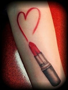 Lipstick love tattoo