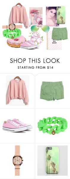 """Pink + Green"" by flower-of-paris ❤ liked on Polyvore featuring J.Crew, Converse, Marc by Marc Jacobs, Briston and Ray-Ban"