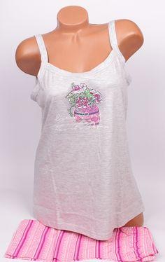 Лятна макси пижама в сиво и розово. Панталонките са в розово райе с ластик. Памучна и мека