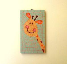Funky giraffe mosaic wall art