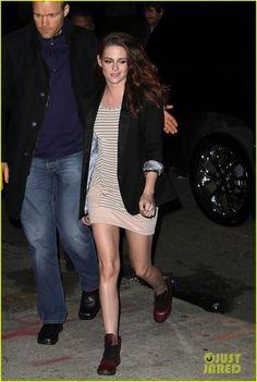 Kristen Stewart in Dr. Martens Leyton Leather Sneakers.