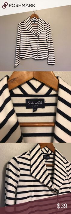 "Splendid striped cotton knit moto jacket Splendid 100% cotton zip moto jacket in a navy stripe, size small.  Measurements are shoulders 16"", armpit to armpit 18"" and length measure from the top of the shoulder to the bottom front hem is 20.5"".  In excellent used condition. Splendid Tops"