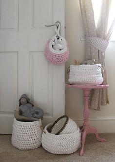 Crochet Basket White Crochet Basket Storage by DeliriumDecor