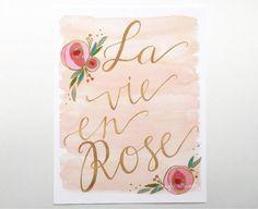 Watercolor art print la vie en rose floral by jenniferallevato