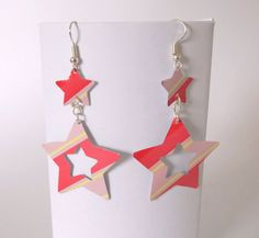Funky Pink Stripey Star Earrings (recycled from a drinks can)