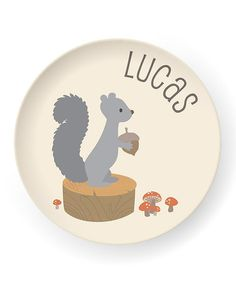 Take a look at this Squirrel Personalized Plate by sarah + abraham on #zulily today!