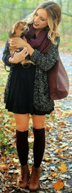 Fashionable Long Cardigan with Cute Mini Dress, Burgundy Circle Scarf, Long Handbag and Leather Heeled Boots