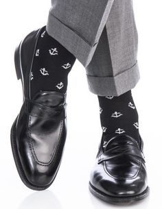Dapper Classics Black with White Anchor Cotton Linked Toe Sock