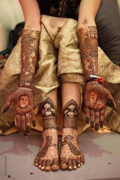 Looking for Bridal mehendi design for hands and feet with portraits and peacock motif? Browse of latest bridal photos, lehenga & jewelry designs, decor ideas, etc. on WedMeGood Gallery.