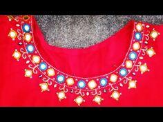 Embroidered kurti design,Neck design for kurti,kurti design for ladies,dress neck designs for ladies - YouTube Mirror Work Kurti, Mirror Work Dress, Embroidered Kurti, Dress Neck Designs, Work Suits, Designer Dresses, Crochet Necklace, Dresses For Work, Tapestry