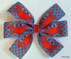 Crab Hair Bow Large Red & Blue Pinwheel Grosgrain Ribbon Hair Clip, Maryland Crabs Girls Barrette Polka Dots Crabby Ocean Nautical Beachy MD by SmoreCrafty on Etsy $5