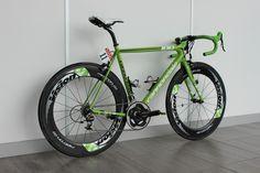 Peter Sagan's green Cannondale SuperSix Evo Hi-Mod Read more at http://roadcyclinguk.com/gear/pro-bikes-inside-peter-sagans-bike-shed.html#6IyUv44rq1qjD6gG.99