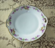 Porcelain Serving Plate Thomas Bavaria Hand Painted Roses and Lilacs | QuiltTops - Ceramics & Pottery on ArtFire