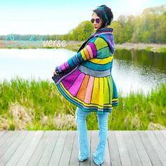 Serged Dream Coat By Stephanie Pokorny - Purchased Crochet Pattern - (ravelry) Crochet Coat, Crochet Jacket, Crochet Clothes, Crochet Hooks, Free Crochet, Crochet Sweaters, Pullover Upcycling, Pixie, Rainbow Fairies