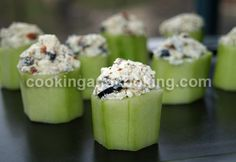 Stuffed Cucumber Cups - with Tzatziki mixed through with the cheeses... perfect.