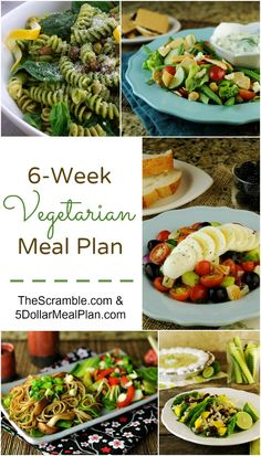 Brand new 6 Week Vegetarian Meal Plan is now available filled with mouthwatering main dish vegetarian recipes with side dish recipes that complement!  Healthy meals, not complicated recipes, and kid-approved as well! | 5DollarDinners.com