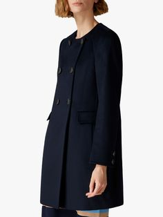 Buy Navy Jaeger Wool Button Detail Collarless Coat from our Women's Coats & Jackets range at John Lewis & Partners. Trinny Woodall, Coats For Women, Jackets For Women, Navy Jacket, British Style, Modern Fashion, Wool Coat, Clothes For Sale, Casual Wear