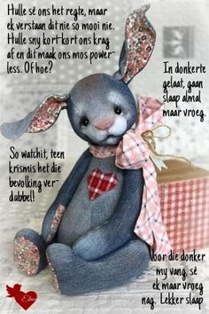Evening Greetings, Afrikaanse Quotes, Goeie Nag, Sleep Tight, Friendship Quotes, Good Night, Poems, Teddy Bear, Soul Food