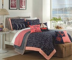 Max Studio Nautical Design Bedspread Full/Queen Quilt Coverlet Cotton Reversible Quilted Bedding Sail Away, Ship Boat Navy Blue Coral Red Ivory, http://www.amazon.com/dp/B0127WDJUG/ref=cm_sw_r_pi_awdm_tOmVvb1T83FP5
