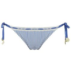 JUICY COUTURE Striped Bikini Bottom ($90) ❤ liked on Polyvore featuring swimwear, bikinis, swimsuits, swim, bathing suits, women, bikini swimwear, swim bikini bottoms, side tie bikini bottom and bikini bathing suits
