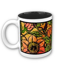 Clematis It Is! - The original digital painting by Leslie Sigal Javorek that wraps around this two-tone ceramic mug is a beautiful,unique interpretation of climbing clematis vines in bold warm shades of coral & green against mottled gold background. The black glossy interior not only looks cool it won't show any coffee stains even after years of use! Created in an eclectic blend of artistic styles: Pointillism, Art Nouveau, Art Deco, Cloissonism. www.zazzle.com/homearts?rf=238155573613991097