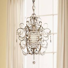 Use this mini chandelier from teh Minka Lavery brand of lighting to brighten dressing areas and more. 16 high x wide. Canopy is wide. Comes with of chain and of wire. Style # 83372 at Lamps Plus. Bathroom Chandelier, Chandelier Lighting, Crystal Chandeliers, Bathroom Lighting, Fashion Kids, Sloped Ceiling, Ceiling Lights, French Chandelier, Shabby Chic Chandelier