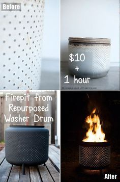 HOW COOL! Save your washing machine drum to recreate a firepit that is just pure awesome. What a great fire pit and what a great way to repurpose an old washer drum. This is the DIY project of the summer!