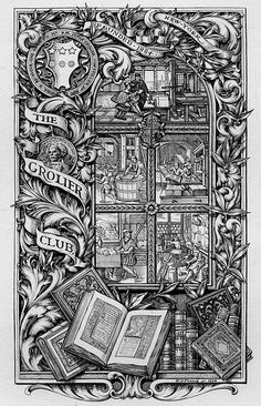 https://flic.kr/p/5WcqTr | [Bookplate of The Grolier Club] | Artist: French, Edwin Davis, 1851-1906  Date: 1894  Description: States, 'The Grolier Club. Founded 1884 New York;' features five central images depicting steps in the bookmaking process, including papermaking, hand-press printing, and binding; the ornamental border includes the crest of the Grolier Club, and a coin bearing the portrait and name of Nathaniel Hawthorne. Signed in lower right, 'E D French sc. 1894.'  Format: 1…