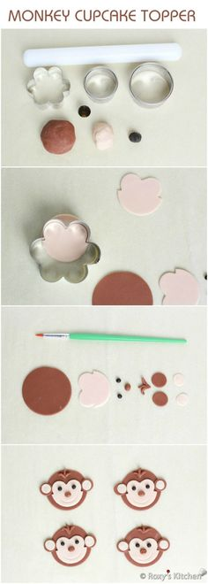 Tutorial with Step by Step Instructions & Photos - How to Make a Fondant Monkey Cupcake Topper / Safari Jungle Animals Birthday Party by neseloveskese