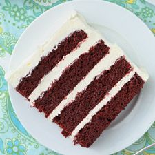 This moist, mildly chocolate cake, much in demand from the 1940s through the 1960s, has had a resurgence in popularity in the past year or so. While most agree on the cake itself–yes, red food coloring is a key element–the frosting is another matter. Some say the traditional frosting was based on a cooked flour-and-water paste, to which sugar and butter are added. Some say only cream cheese frosting will do. Since this is such a '50s cake, we've chosen to offer it with good old-fashioned…